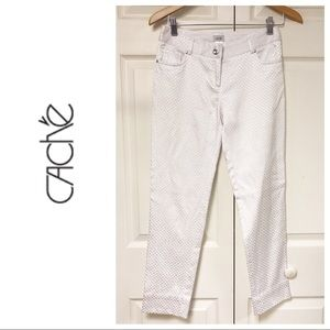 NEW CACHE WHITE SHIMMER WHITE CROP PANTS